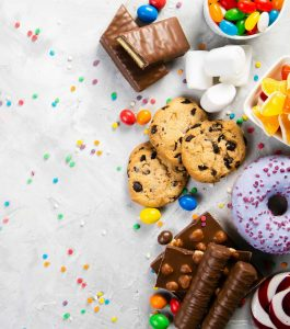 Cookies, candy, donuts, jelly beans, marshmallows